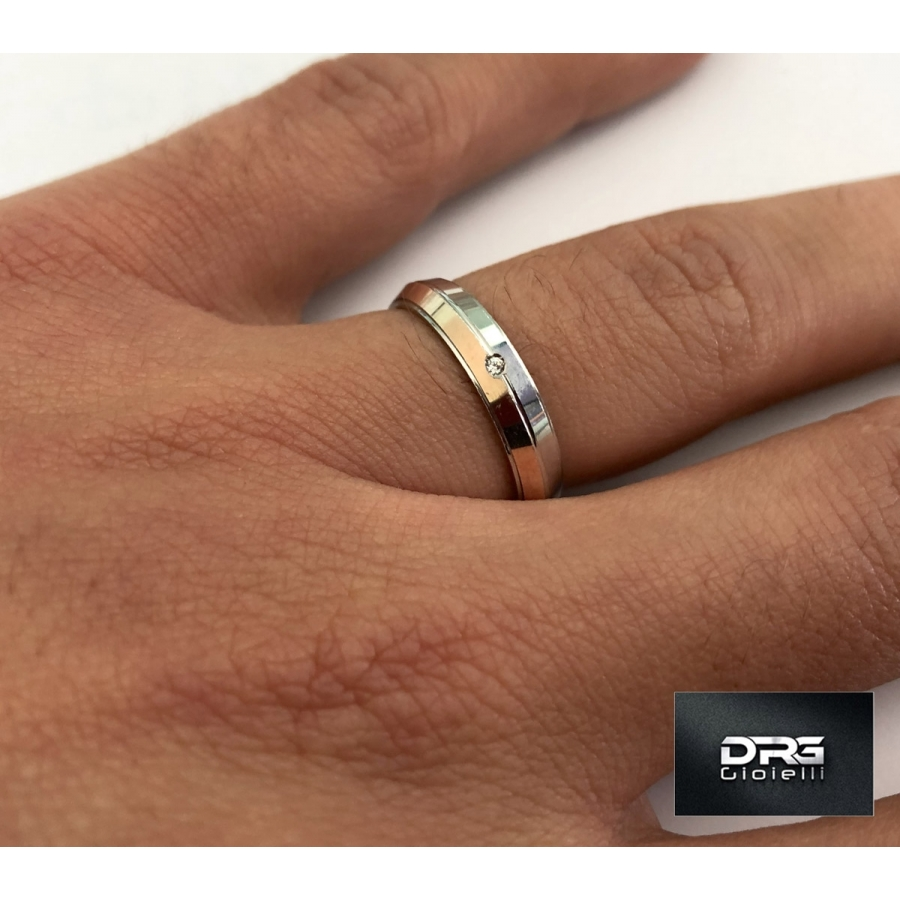 anello argento 925 oro rosa