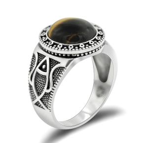 anello con pietra uomo argento 925 occhio di tigre
