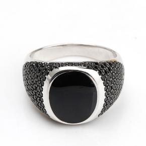 anello chevalier argento 925 con pietra nera