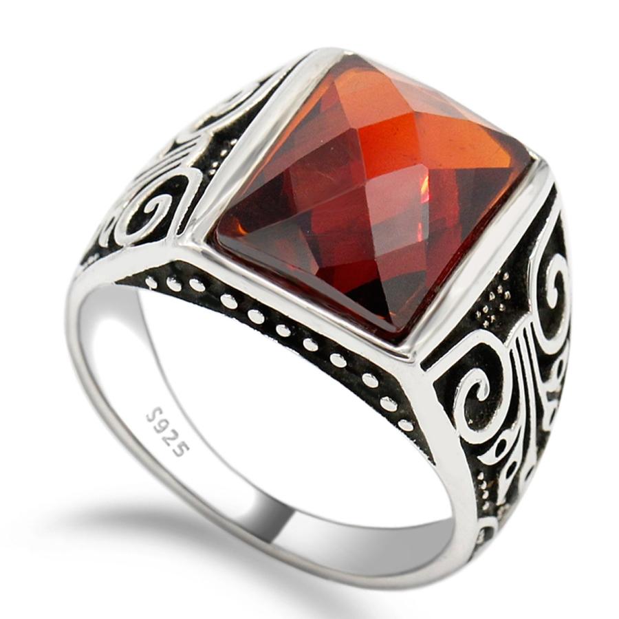 anello argento 925 con pietra rossa