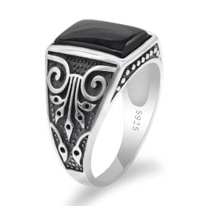 anello argento 925 con pietra nera