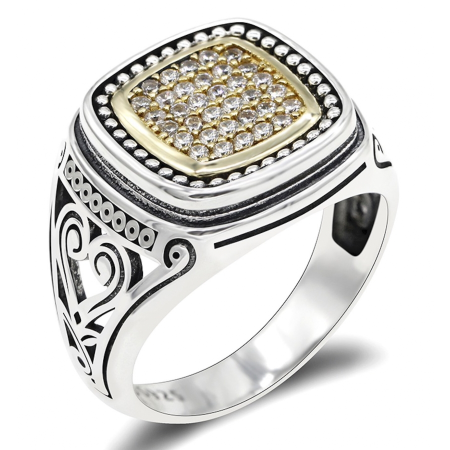 Anello argento chevalier pietra...