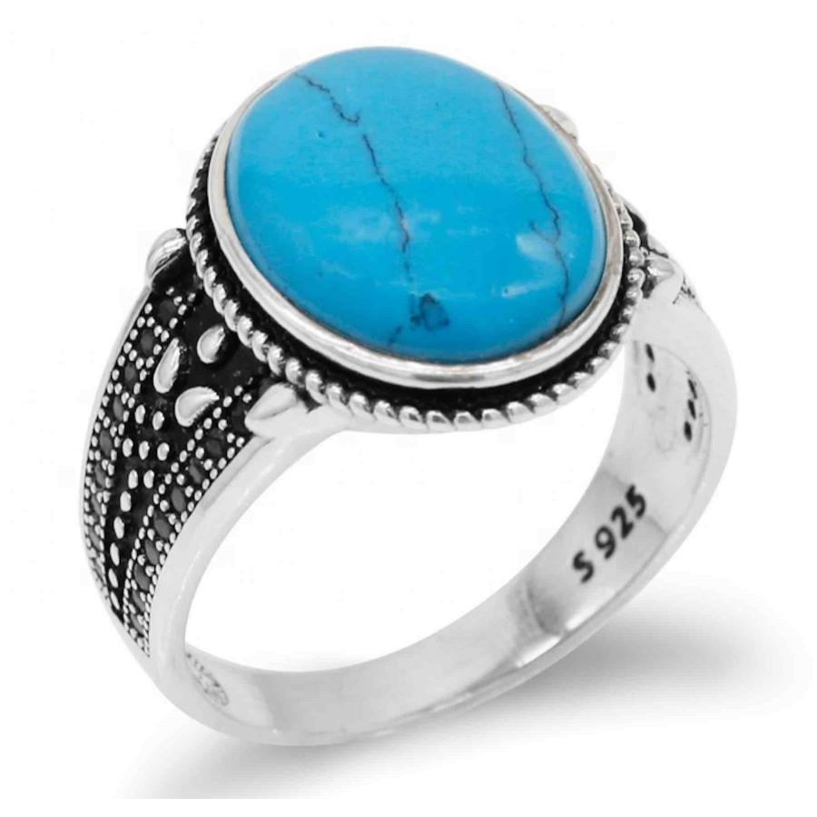 anello chevalier argento con pietra turchese